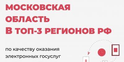 Подмосковье вошло в ТОП-3 лучших субъектов РФ по электронным услугам